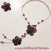 collana fiori in panno e perline
