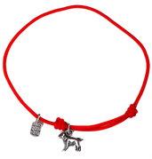 Bracciale di corda con pendente charm in argento Labrador, fatto a mano