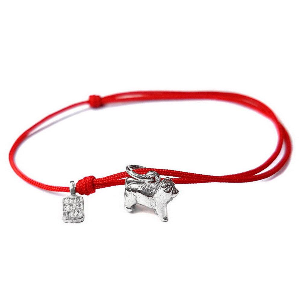 Bracciale di corda con pendente charm in argento Chow Chow, fatto a mano