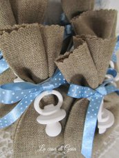 Sacchettino lino grezzo con gessetto,bomboniere battesimo maschio o femmina,personalizzabile
