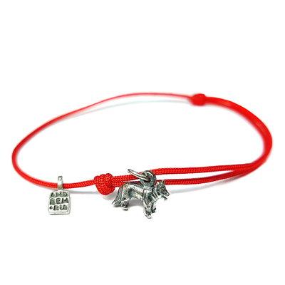 Bracciale di corda con pendente charm in argento Pastore, fatto a mano