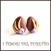"""Orecchini Pasqua lobo  perno """" Uova cioccolata al latte fiore  lilla  """"  fimo cernit kawaii Pasqua idea regalo bambina ragazza personalizzabile"""