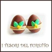 """Orecchini Pasqua lobo  perno """" Uova cioccolata al latte fiore mimosa  """"  fimo cernit kawaii Pasqua idea regalo bambina ragazza personalizzabile"""