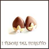 """Orecchini Pasqua lobo  perno """" Uova cioccolata al latte fiore rosa """"  fimo cernit kawaii Pasqua idea regalo bambina ragazza personalizzabile"""