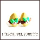 """Orecchini Pasqua lobo  perno """" Uova cioccolato foglie verdi  """"  fimo cernit kawaii Pasqua idea regalo bambina ragazza personalizzabile"""