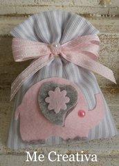 Sacchetto piquet righe c/elefantino rosa