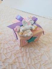 Scatolina portaconfetti unicorno