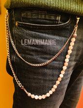 Catena jeans uomo agata rosa