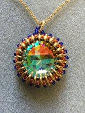 Ciondolo Rivoli 27mm Crystal AB incastonato con perline di Boemia