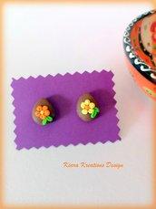Orecchini uova di Pasqua con fiori in fimo, gioielli bambina, regalo pasqua, uovo di pasqua, orecchini primaverili, regalo pasqua bambina