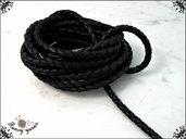 Cordoncino tubolare, cuoio intrecciato nero, diametro 5 mm. 100 cm.