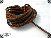 Cordoncino tubolare, cuoio intrecciato marrone, diametro 5 mm. 100 cm.