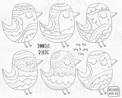 Timbri digitali uccellini. File digitali per Scrapbooking.  SVG, EPS, PNG e JPEG. Set di 6