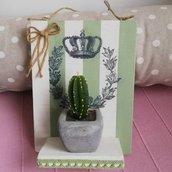 Giardino in miniatura - piccola mensola artigianale in legno decorato a mano