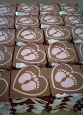 Scatolina scatola bomboniera porta confetti nascita battesimo bimbo piedini