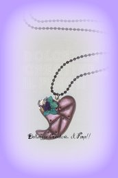 ★★SALDI Cuore Stile Steampunk Gears Viola metallizzato con fiori :)