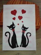 Quadro su  tela gatti idea regalo