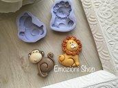 Stampi animali leone e scimmietta
