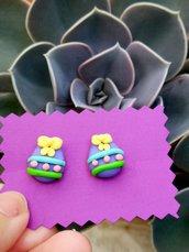Orecchini uova di Pasqua in fimo, gioielli bambina, regalo pasqua, uovo di pasqua, orecchini primaverili, regalo pasqua bambina