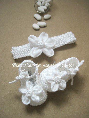 Scarpine e fascetta neonata/bambina - cotone, lino e tulle - fatte a mano - Battesimo