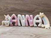 Banner nascita nome bimbo in pannolenci. Idea regalo per nascita, baby shower, mamme in dolce attesa. Lettere in pannolenci imbottite.