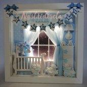 Quadretto nascita personalizzato in polvere di ceramica con luci led. Personalised nursery decor. Idea regalo per nascita, battesimo.