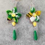 Allegri orecchini fatti a mano fiore in stoffa verde giallo pendenti pietre