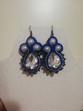 Orecchini soutache blu argento pendenti stoffa eleganti