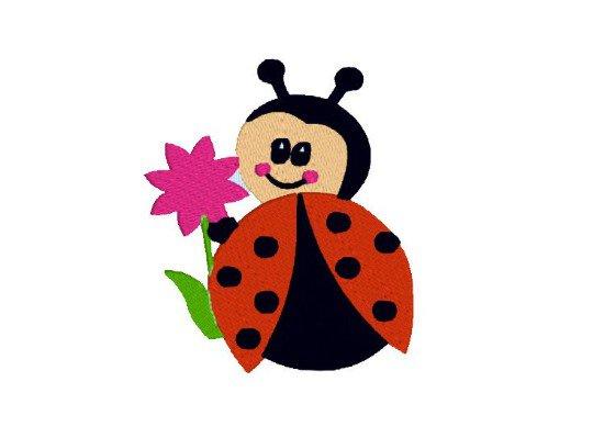 Coccinella con fiore, ladybug,  ricamo a macchina , embroidery design. INSTANT DOWNLOAD