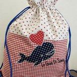 Set asilo sacca e  bavaglina personalizzata  con balena