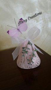Campana pasqua, farfalla, fiori, decorazioni, idea regalo