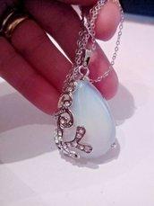 Collana donna con grande ciondolo in vero opale bianco e zirconi pietre dure naturali chakra cristalloterapia