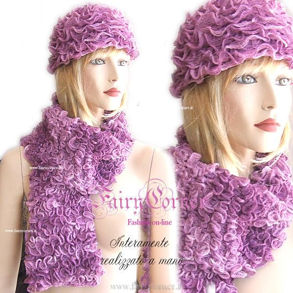 Completo berretto sciarpa VOLANT viola sfumato