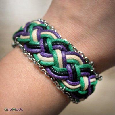 BRACCIALETTO TWIST 8 - con cordini intrecciati a mano bianco panna, verde, viola e nero