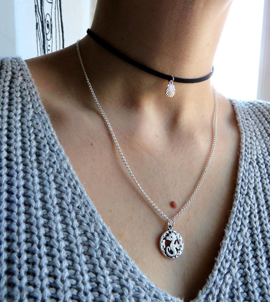 Collana donna conchiglia e ciondolo cavalluccio marino choker doppia girocollo estate mare Boemia regalo per le donne