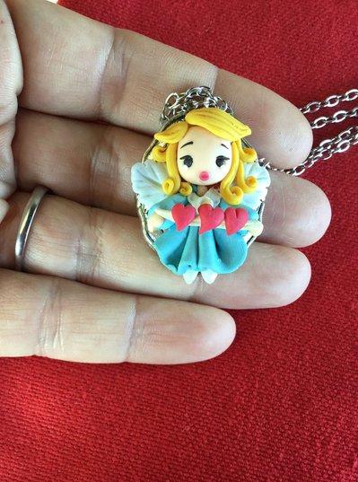 angelo in fimo, collana con angioletto, kawaii