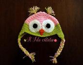 Cappellino GUFETTO neonato in lana all'uncinetto varie taglie