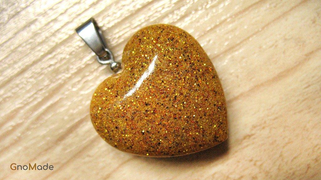 CIONDOLO HEARTS 1 - color ocra con glitter oro rame bronzo - atossico e nichel free