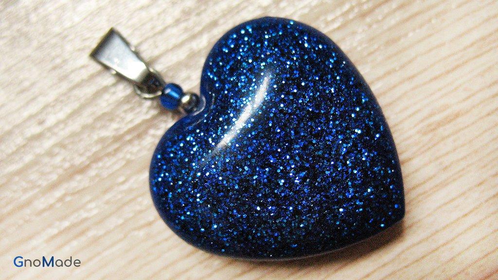CIONDOLO HEARTS 3 - blu con glitter turchese e blu - atossico e nichel free