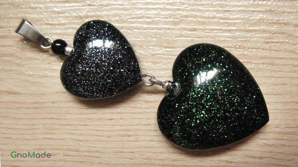 CIONDOLO HEARTS 6 - colori nero e verde con glitter argento nero verde oro - atossico e nichel free