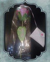 Rosa in gomma con bustina portasoldi