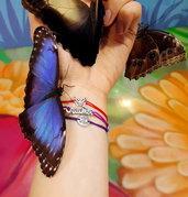 Bracciale di corda con pendente charm in argento Farfalla, fatto a mano