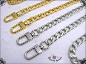 Catena per borsa cm.140 x mm.9 disponibile in 2 colori: oro, argento, canna di fucile