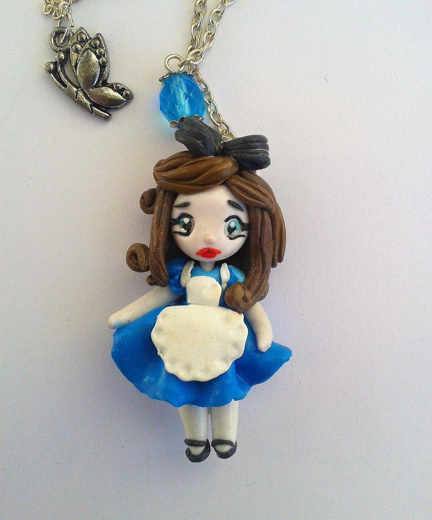Bambola in fimo, Collana con ciondolo kawaii