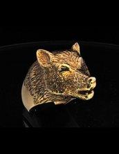 Anello in bronzo testa cucciolo di lupo che ulula