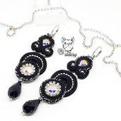 Orecchini lunghi neri per cerimonia o occasioni speciali - orecchini pendenti soutache - gioielli soutache