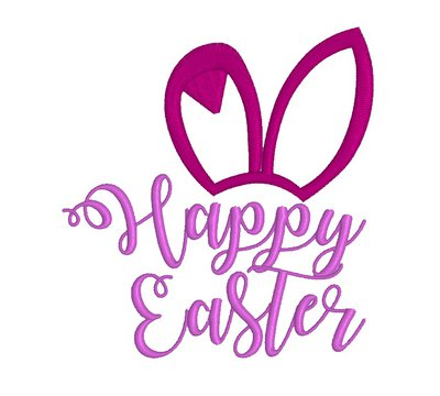 Happy Easter, rabbit ears, embroidery design. INSTANT DOWNLOAD