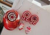 PARURE Orecchini + collana soutache rosso bianca