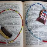 Segnalibro rinascita, con pettinino artigianale cinese anni 1980, legno, perline, accessori libro