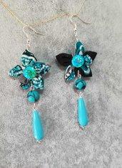 Allegri orecchini fatti a mano fiore in stoffa azzurro turchese verde acqua nero pendenti pietre